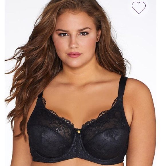 f2c469319d Curvy Couture Lacey Unlined Bra Black